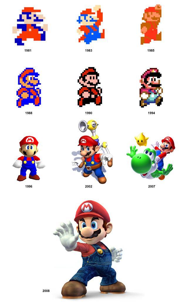 A evolução do personagem Mario