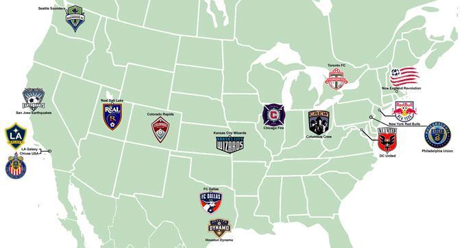 MLS teams map