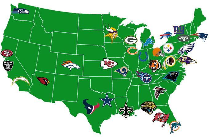 NFL teams map