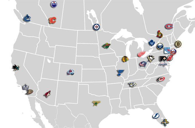 NHL teams map