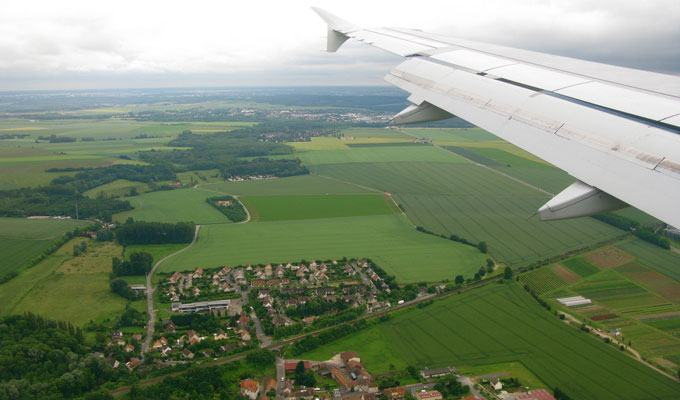 Vista aérea da zona rural francesa