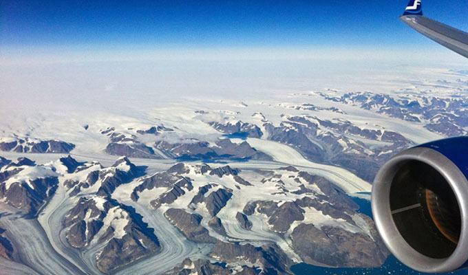 Vista aérea da Groenlândia