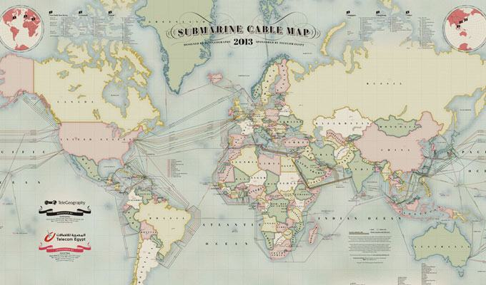 Mapa de cabos submarinos usados para internet
