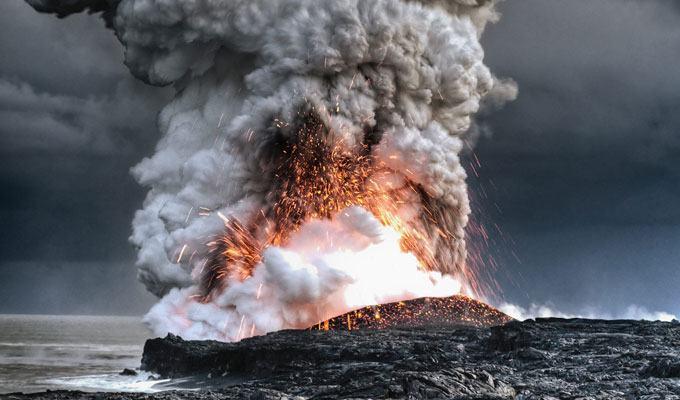 Foto de vulcão em erupção: Kilauea, Hawaii