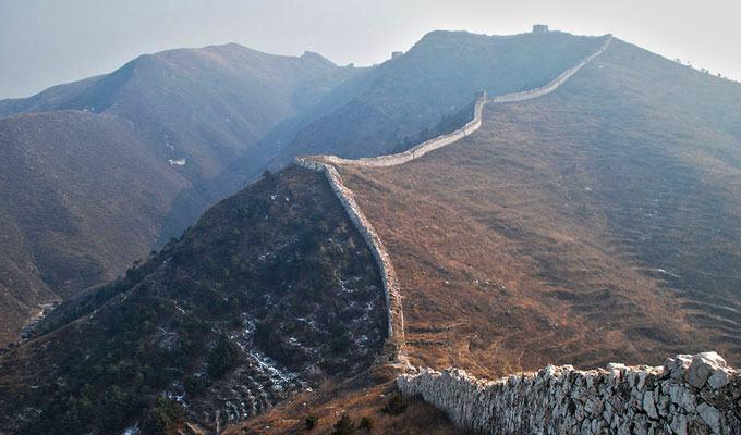 Fotos da Muralha da China na cordilheira chinesa